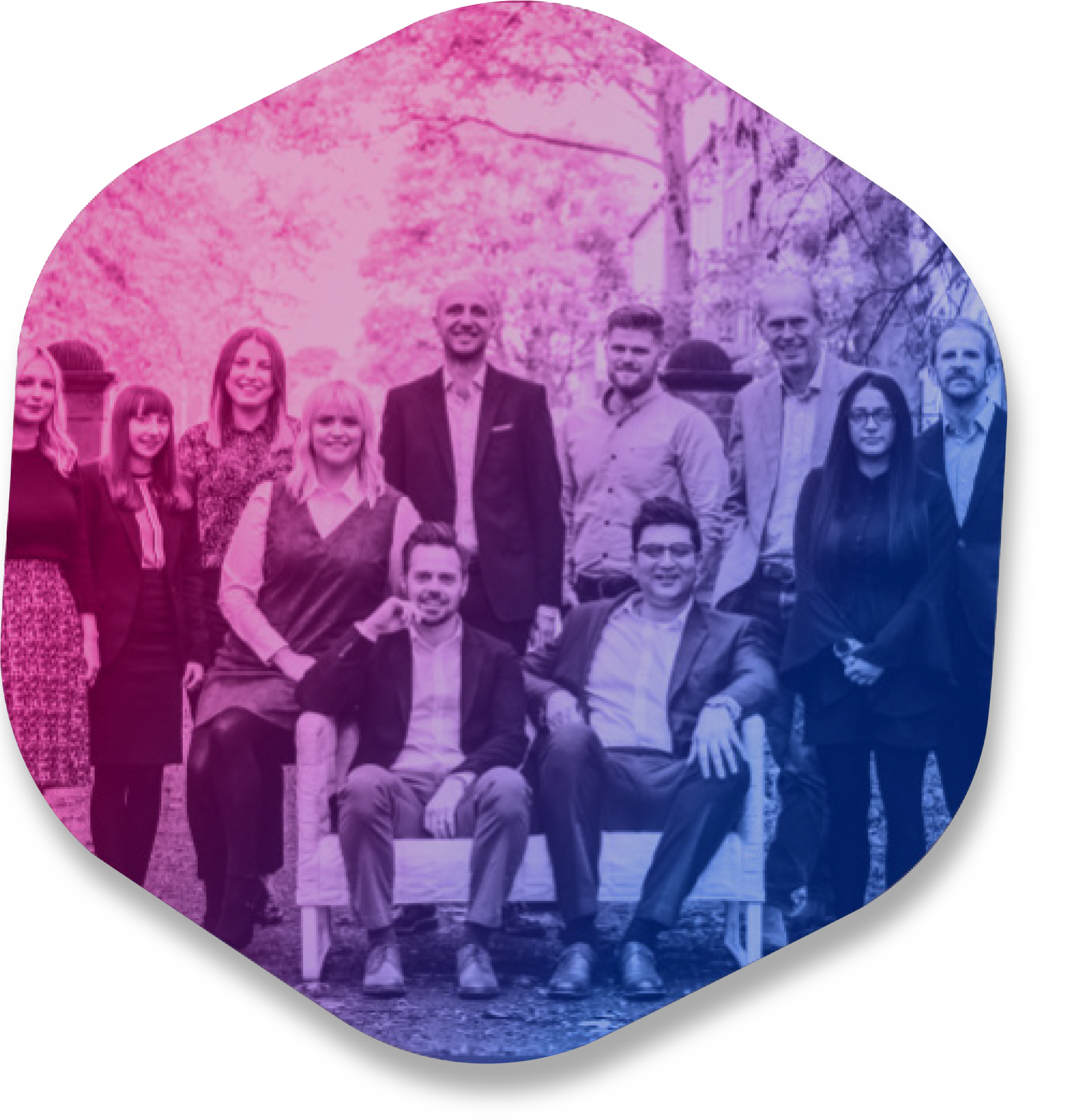 Iron market team in hexagon shaped image